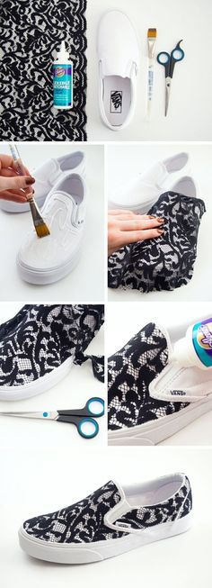 1892919905626307949219 DIY Lace Slip on Vans Sneakers. I would love these!!