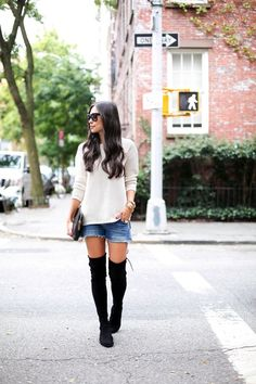 love. casual over the knee boots look.