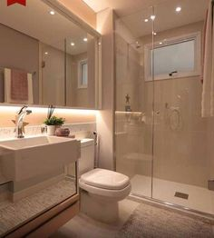 Most Popular Small Bathroom Remodel Ideas on a Budget in 2018 This beautiful look was created with cool colors, and a change of layout. Bathroom Layout, Modern Bathroom Design, Bathroom Interior Design, Small Bathroom, Neutral Bathroom, Toilet Design, House Rooms, Bathroom Inspiration, House Design