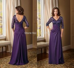 Find More Mother of the Bride Dresses Information about Glamorous Purple Long Mother Of The Bride Dress 2015 With Half Sleeves V Neck Bride Mother Dress Appliques Ruched Party Gown,High Quality dress for less prom dresses,China dresse Suppliers, Cheap dresses pants from Amanda's Dress House on Aliexpress.com