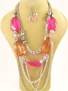 """Silver necklace with fuchsia stones and matching fish hook earrings. Lead Compliant. 19"""" $29.95 shipped! We accept PayPal!"""