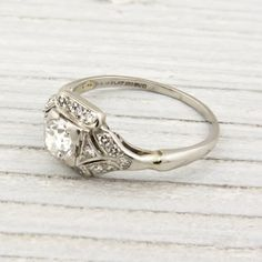 Image of .52 Carat Vintage Diamond Art Deco Engagement Ring
