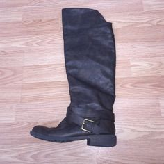 Boots Over the knee brown boots, perfect condition! Only worn once. I'm a sz 7 and got a size up because they're boots and they fit perfectly. Not pink, just for exposure PINK Victoria's Secret Shoes Over the Knee Boots