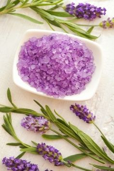 Lavender Bath Salts - Veria.com  The scent of lavender's essential oil is sweet, soothing & restorative. The oil itself is soothing; use as an anti-inflammatory to cool & calm skin irritated by insect bites & sun exposure. A lavender & salt bath does wonders for dry, red or itchy skin. Dissolved salt gently exfoliates the skin while the lavender works its magic as a soothing agent. Use this herbal bath remedy at the end of a day in the sun to refresh skin & settle your spirit before bed.
