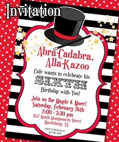 MAGIC PARTY Invitation and Thank You Note - 5x7 - Printable Invitation Set by Amanda's Parties To Go. $13.50, via Etsy.