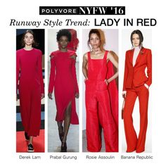 """""""NYFW Runway Trend: Lady in Red"""" by polyvore-editorial ❤ liked on Polyvore featuring Prabal Gurung, Rosie Assoulin, Banana Republic, women's clothing, women, female, woman, misses, juniors and NYFW"""