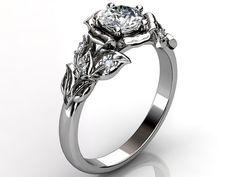 14k white gold diamond unusual unique floral engagement ring, bridal ring, wedding ring ER-1061-1. on Etsy, $950.00