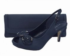 Menbur Avance Navy Blue Ladies Shoes. Navy evening shoes and matching bag