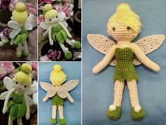 Cute Tinkerbell Crochet Doll - Tinkerbell Crochet Doll Pattern FREE - Make this unique crochet fairy doll that's sure to delight the little fairy in your life Quick Crochet, Unique Crochet, Knit Or Crochet, Cute Crochet, Crochet For Kids, Crochet Crafts, Crochet Projects, Crochet Dolls Free Patterns, Crochet Doll Pattern