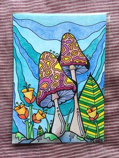 Psychedelic Mushroom Drawing, Ink & Colored Pencil by TheCloudyCorgi on Etsy Hippie Painting, Trippy Painting, Mushroom Drawing, Mushroom Art, Simple Canvas Paintings, Small Canvas Art, Trippy Drawings, Art Drawings, Psychedelic Art