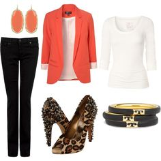 A fashion look from January 2012 featuring white t shirt, blazer jacket and 7 For All Mankind. Browse and shop related looks. Girly Outfits, Modest Outfits, Cool Outfits, Fashion Outfits, Coral Blazer, Orange Blazer, Red Blazer, Business Casual Attire, Polyvore Outfits