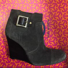 Tory Burch Wedge Booties Please see second pic for more details, purchased on PM but a bit too snug for me..... Great shoe in good condition, wish they fit! Tory Burch Shoes Ankle Boots & Booties