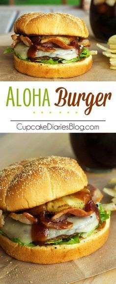Aloha Burger - A juicy burger exploding with BBQ and pineapple flavors GrillWithATwist ad Target Grilling Recipes, Beef Recipes, Cooking Recipes, Pizza Recipes, Cake Recipes, Dinner Recipes, Aloha Burger, Burger Cupcakes, Burger Cake