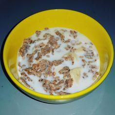 #Cereals #banana #milk #breakfast