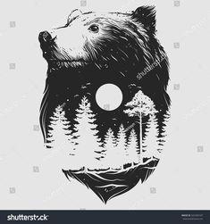 Abstract Head Of The Bear Stock Vector Illustration 342360020 : Shutterstock Bear Tattoos, Body Art Tattoos, Cool Tattoos, Ship Tattoos, Ankle Tattoos, Arrow Tattoos, Gun Tattoos, Small Tattoos, Tattoo Drawings
