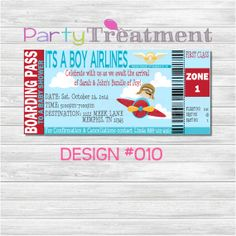 Baby Shower Pilot Airline Boarding Pass Invitation 010 by PartyTreatment on Etsy, $10.00