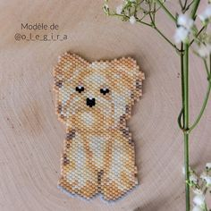 Peyote Patterns, Beading Patterns, Cross Stitch Patterns, Dog Pattern, Plastic Canvas Crafts, Beaded Animals, Beaded Brooch, Kids Jewelry, Bead Jewellery