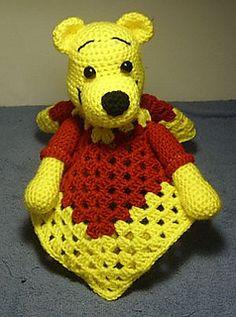 Pooh inspired lovey blankie. Crochet pattern
