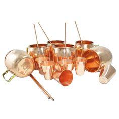 DakshCraft ® Cocktail Moscow Mule Mug (Capacity 17 oz) with FREE Copper Shot Glass (Capacity – 2 oz pr glass) & Copper Straw, Set of 6: Amazon.com: Home & Garden