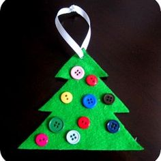 Button Christmas Tree Ornament, 1 of the 25 easy Christmas crafts for kids