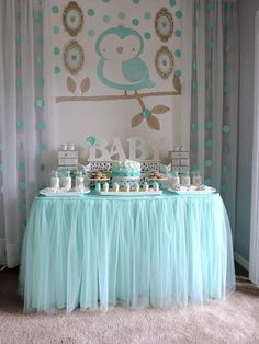 """Turquoise Owl """"Welcome Home Baby"""" Party via Kara's Party Ideas 