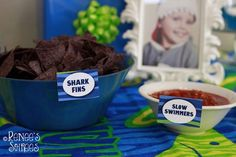 Shark Party Ideas Planning Idea Supplies Decorations Sea - This Awesome Shark Themed Rd Birthday Party Was Submitted By Renee Roberts Of Renees Soirees What A Fun Party Theme This Has So Many Great Ideas That You Could Use For A Shark Or Under The Sea Par Fun Party Themes, Birthday Party Themes, Party Ideas, 5th Birthday, Birthday Ideas, Mermaid Birthday, Chips And Salsa, Shark Party, Under The Sea Party