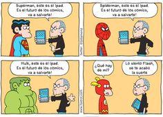 Steve Jobs le presenta el iPad a los superheroes