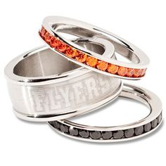 Philadelphia Flyers Ladies Spirit Crystal Stacked Ring Set!