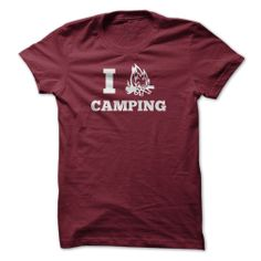 I Heart Camping. Maroon Tee shown. Also available in Blue, Forest, and Dark Gray. Men's Tees, Ladies Tees, and Hoodies also available.