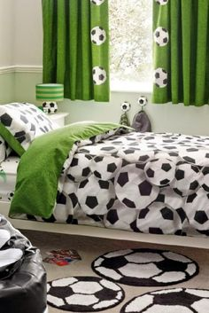 Soccer Bedroom With Soccer Ball Bedding And Mats