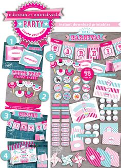 INSTANT DOWNLOAD circus or carnival party printables to make a pink carnival birthday, a carnival baby shower, or to make an extra special birthday for a 1st birthday girl! Available in a carnival or circus party theme. Choose these party printables in red, blue, and yellow too!  you make do® 