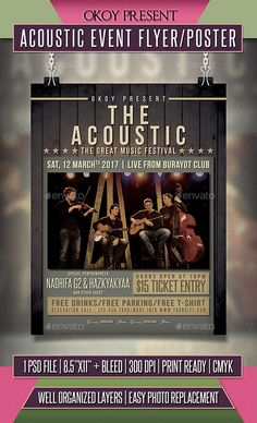 Acoustic Event Flyer / Poster — Photoshop PSD #gig #rock • Available here → https://graphicriver.net/item/acoustic-event-flyer-poster/19657428?ref=pxcr