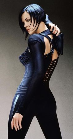 The animated tough gal Aeon Flux is portrayed here by actress Charlize Theron in a publicity shot for the 2005 film Aeon Flux. The film was directed by Karyn