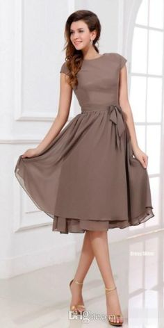free shipping, $53.37/piece:buy wholesale  2016 popular scoop short a-line knee length chiffon brides maid dresses modest bridesmaid dress with short sleeves dresses evening wear 2015 spring summer,reference images,chiffon on lovewedding888's Store from DHgate.com, get worldwide delivery and buyer protection service.