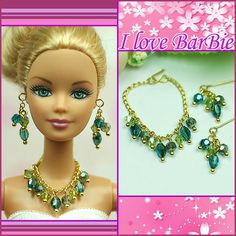 barbie dolls jewelry set barbie green crystal necklace and earring for barbie dolls-- I need this..
