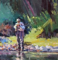 """Contemplation""  Mary Maxam  fly fishing"