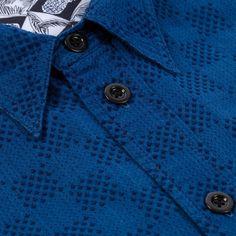 Paul Smith Men's Shirts   Indigo-Dye Checkerboard Jacquard Cotton Shirt