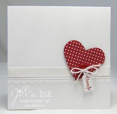 Punched Full Heart -Summer Smooches DSP Real Red Designer Button Tiny Tag and Needlepoint Border Textured Imp Folder.