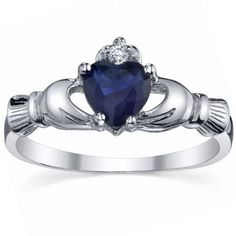 Corrine: 0.765ct Heart cut Created Blue Sapphire Claddagh Ring Silver - Trustmark Jewelers