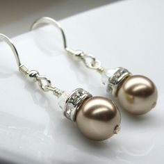 Champagne Earrings Swarovski Pearl Drop Bridesmaid by fineheart, $16.00
