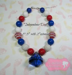 """""""Independence Day"""" Chunky Beaded Necklace, Photo Prop, Child, Adult, July 4th"""