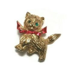 Adorable Vintage Kitty Lapel Pin Brooch Red Bowtie Cat Jewelry