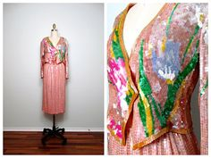 70's Neil Bieff Sequin Dress // Floral Art Deco Pink & by braxae