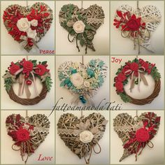Ideas para corazones y coronas Felt Christmas, Christmas Wreaths, Christmas Crafts, Christmas Ornaments, Heart Decorations, Valentine Decorations, Christmas Decorations, Diy Cadeau, Felt Crafts Diy