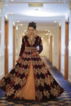 deep maroon marsala colored velvet jacket full sleeves high neck, winter engagement reception outfit, royal, brown, regal, winter bridal , front slit with peach, maroon and peach, engagement mughal gown