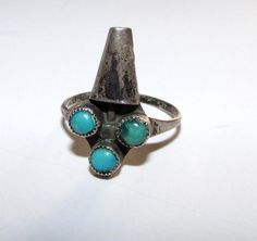 Native American Old Pawn Zuni Sterling Silver Turquoise Kachina Ring Size 7.5. Rare