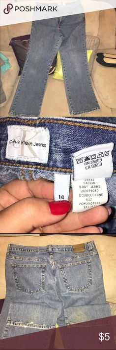 """Calvin Klein jeans Size 14 x 32"""" These are non-stretch jeans in worn condition. See bottom of legs (back sides are frayed/worn) Priced to sell, accordingly. Non-smoking/pet-free home. Calvin Klein Jeans Jeans Boot Cut"""