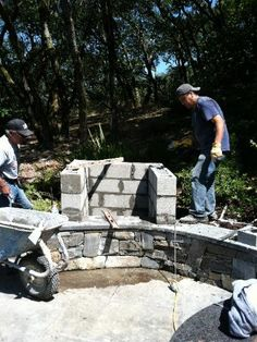 Wood Fired Brick Oven - this is so cool but PLEASE if you're going to build a fire pit or something similar, make sure you get FIRE BRICKS, not ordinary landscaping blocks like these guys seem to be using. They're not tempered to the heat and run the risk of exploding - brick shrapnel is not a fun experience to share with your friends.