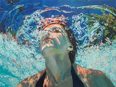 Awesome handling of water, sun, reflections in this under-the-water-looking-up painting!