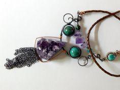 Raw Amethyst Necklace Natural Gemstone Layering Necklace Amethyst Boho Necklace Amethyst Crystal Bohemian Jewelry by BeadIndulgences on Etsy